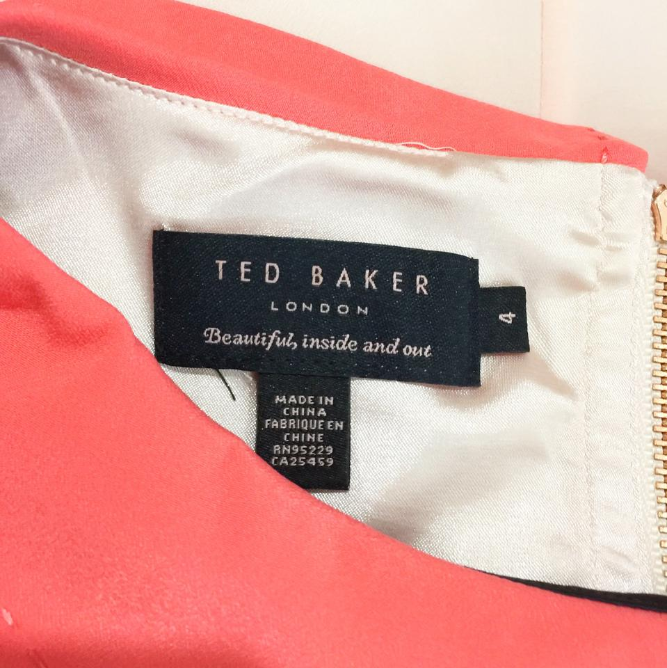 s 4 Blocked 73 Size Baker Black Pink Short Retail Judeo Dress Coral Peter Ted Shift Pan Color Off Collar Casual