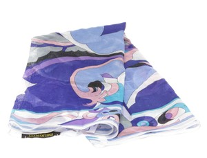 Emilio Pucci Emilio Pucci Blue Multicolor Print Cotton Square Scarf 213047