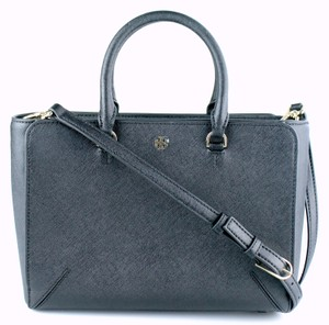 Tory Burch Leather Shoulder Tote in Black
