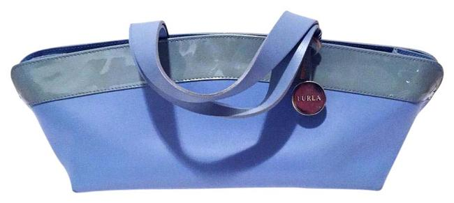 Furla Speckled Patent Banana Boat Blue Leather Satchel Furla Speckled Patent Banana Boat Blue Leather Satchel Image 1