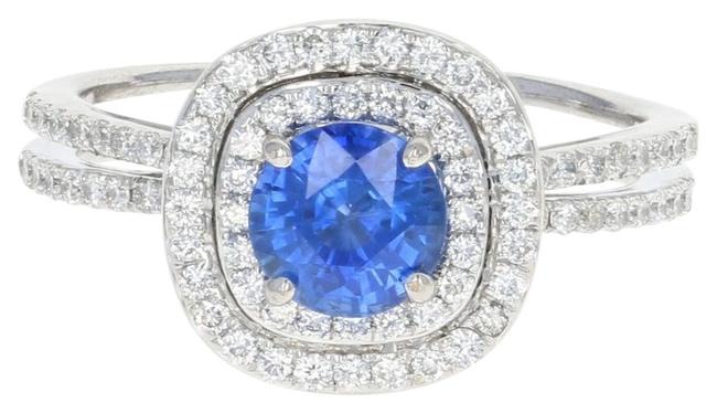 Wilson Brothers Jewelry New Sapphire & Diamond Double Halo - 14k White Gold Round Cut 1.3 Ring Wilson Brothers Jewelry New Sapphire & Diamond Double Halo - 14k White Gold Round Cut 1.3 Ring Image 1