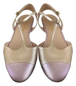 Chanel Flats Ankle Strap Cc Strappy Cap Toe Flats gold and lavender Sandals