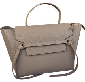 Céline Celinebag Leather Belt Mini Satchel in Beige Nude