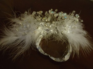 White Clear Silver Headpiece Feathers ~ Crystals ~ Rhinestones Hair Accessory