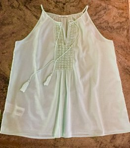 Promod Tassel Spaghetti Strap Cotton Top Mint