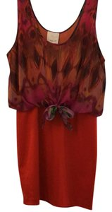 Aryn K short dress red orange with patterned top on Tradesy