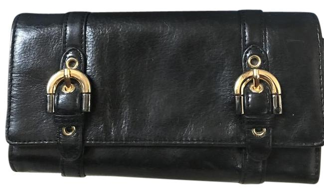 Badgley Mischka Black Clutch Fold Over Wallet/Clutch with Buckle Detail Wallet Badgley Mischka Black Clutch Fold Over Wallet/Clutch with Buckle Detail Wallet Image 1