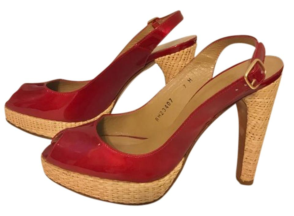 07711fbee9d8 Stuart Weitzman Wicker Heel Peep Toe Sling Back red patent leather Pumps  Image 0 ...
