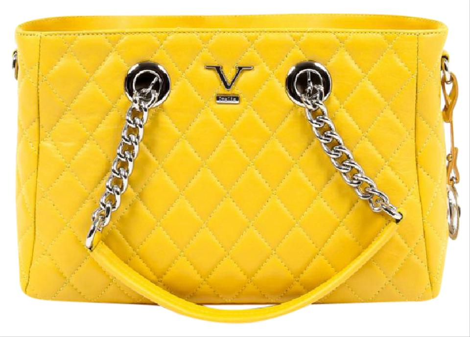 94aa9efaf469 Versace 19.69 V Italia Quilted Chain Handbag Yellow Leather Tote ...