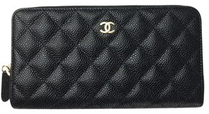 Chanel Brand New Chanel Classic Zip Around Wallet in Black Caviar with GHW