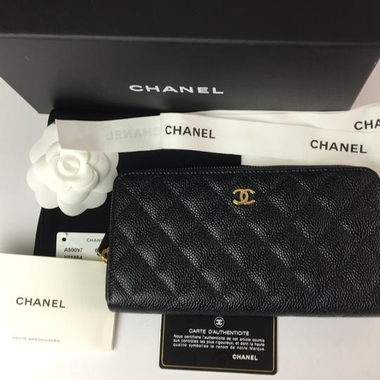 Chanel Brand New Chanel Classic Zip Around Wallet in Black Caviar with GHW Image 9