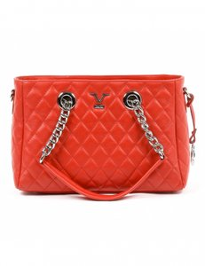 086798de5b3 Added to Shopping Bag. Versace 19.69 Quilted Chain Leather Tote in Red. Versace  19.69 V Italia ...