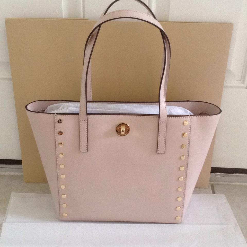b3b835a161d7 Michael Kors Studded New Rivington Tote in Soft Pink Image 11.  123456789101112
