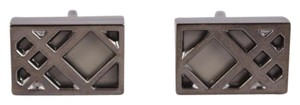 Burberry New Burberry $235 Nova Check Rectangular Metal Cufflinks