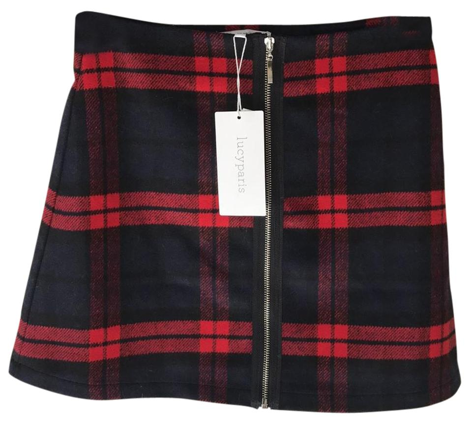 Red and plaid black mini skirt new photo