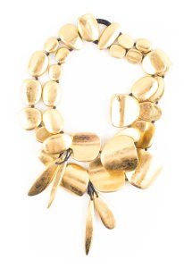 Monies Monies Gold Wood Abstract Necklace