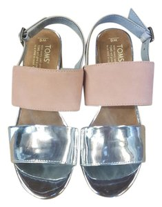 91f873a98ad TOMS Pink Silver Specchio Blush Suede Poppy Mid Block Heel Sandals ...