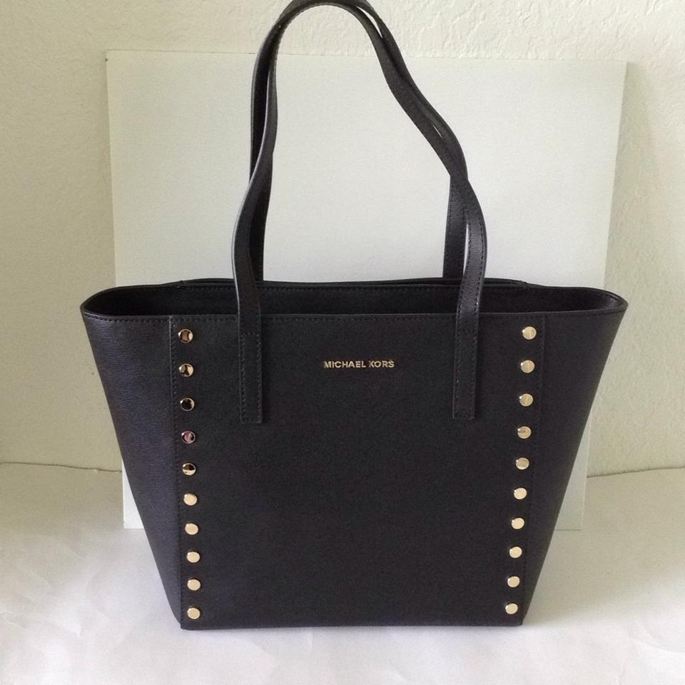 022e86ed6452 Michael Kors Leather Hardware Studded Tote in Black/Gold Image 11.  123456789101112