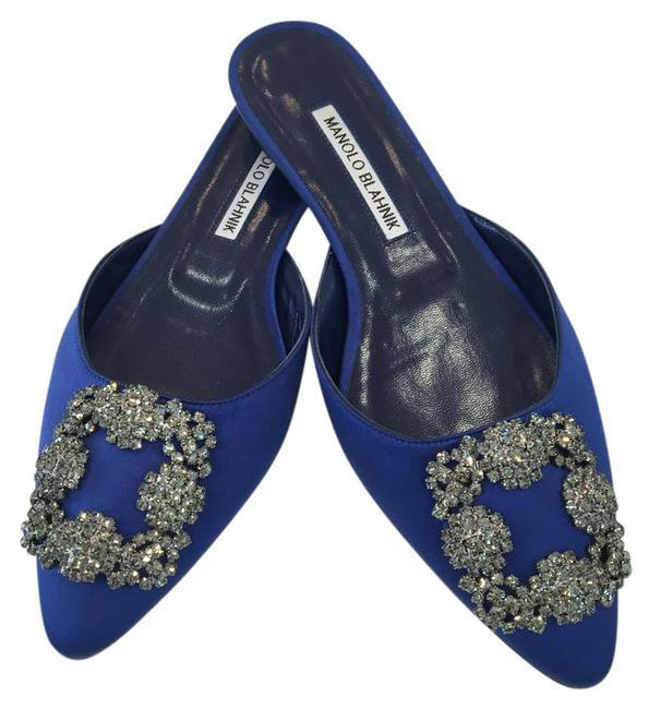 Item - Blue Hangisi Buckle Satin Mules/Slides Size EU 36 (Approx. US 6) Narrow (Aa, N)