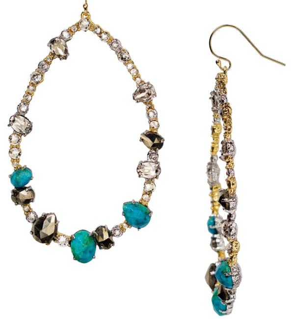 Alexis Bittar Chrysocolla and Pyrite Crystal Hoop Pierced Earrings Alexis Bittar Chrysocolla and Pyrite Crystal Hoop Pierced Earrings Image 1