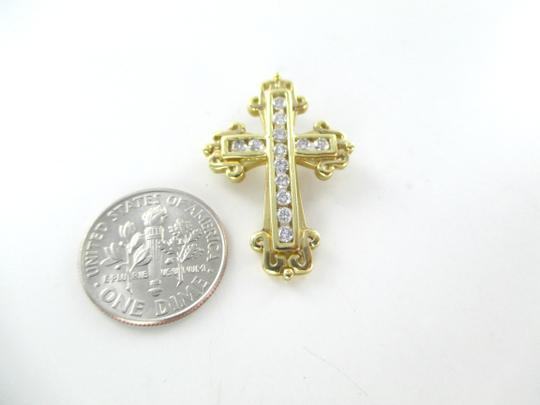 Other 14KT SOLID YELLOW GOLD CROSS 13 DIAMONDS .50 CARAT 3.5 GRAMS EASTER RELIGIOUS Image 1
