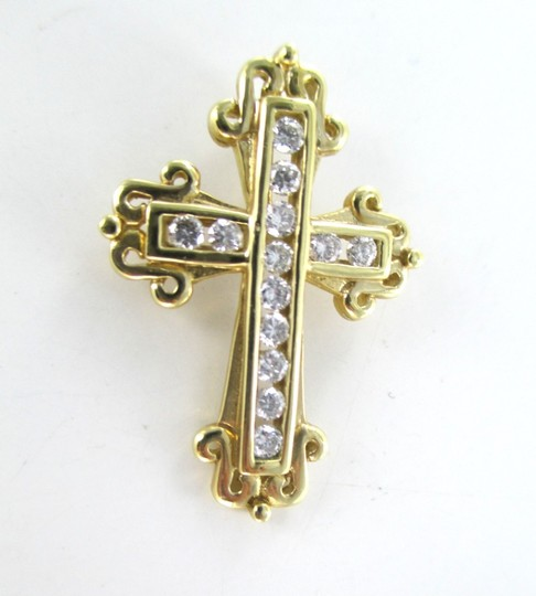 Other 14KT SOLID YELLOW GOLD CROSS 13 DIAMONDS .50 CARAT 3.5 GRAMS EASTER RELIGIOUS Image 2