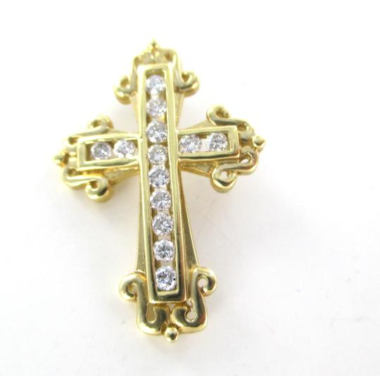 Other 14KT SOLID YELLOW GOLD CROSS 13 DIAMONDS .50 CARAT 3.5 GRAMS EASTER RELIGIOUS Image 8
