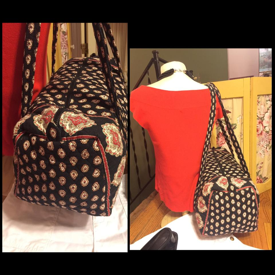 64c68c6506df Vera Bradley Nwot-xl Signature Quilted Black Red Tan Green Paisley ...