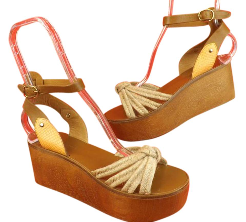 34132ac6c8b Isabel Marant Brown Natural Zia Ankle Strap Wood Heel Sandals Spain ...