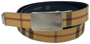 Burberry Tan, red multicolor coated canvas Burberry belt S