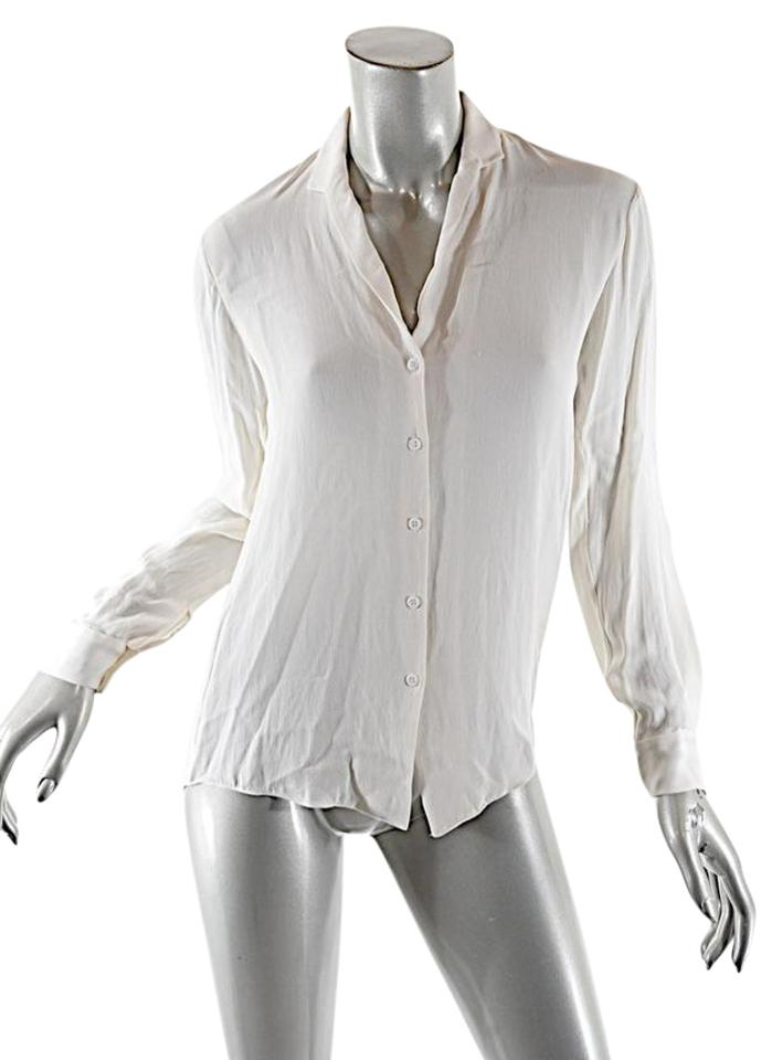 0146423df2c2f Theyskens  Theory White Ivory Silk Georgette Button Blouse. Size  2 ...