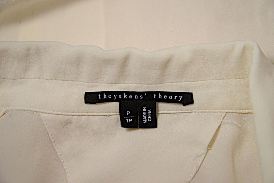 cee71b6cf1837 Theyskens  Theory White Ivory Silk Georgette Button Blouse Size 2 (XS) -  Tradesy