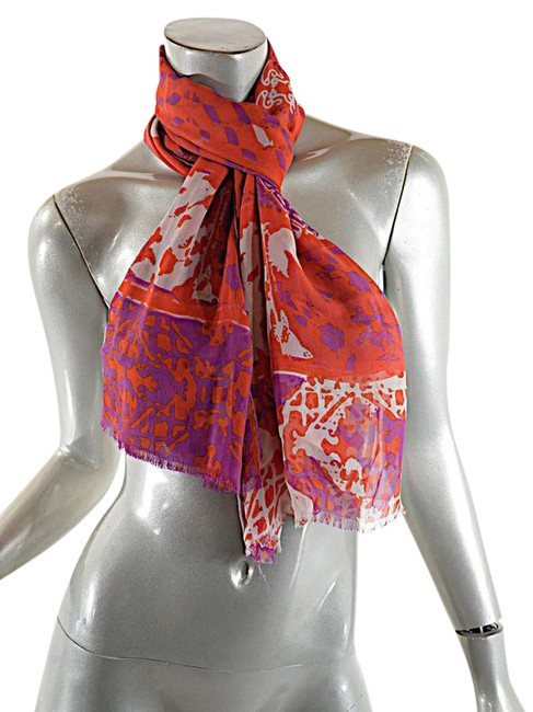 Etro Red White Multicolor Purple/Red/White Silk Floral/Geometric Pattern Shawl/Scarf Scarf/Wrap Etro Red White Multicolor Purple/Red/White Silk Floral/Geometric Pattern Shawl/Scarf Scarf/Wrap Image 1