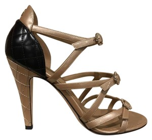 Chanel Quilted Stiletto Sandal Strappy beige Pumps