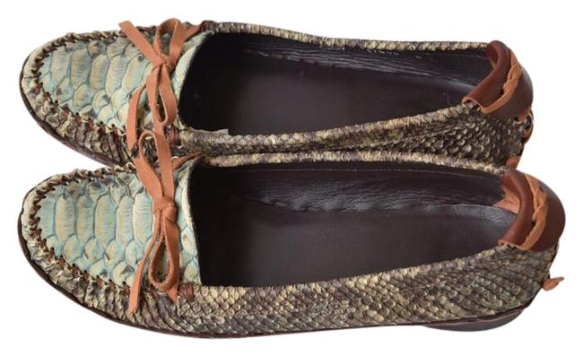 Item - Green/Black Embossed Leather Loafers Flats Size US 8 Regular (M, B)