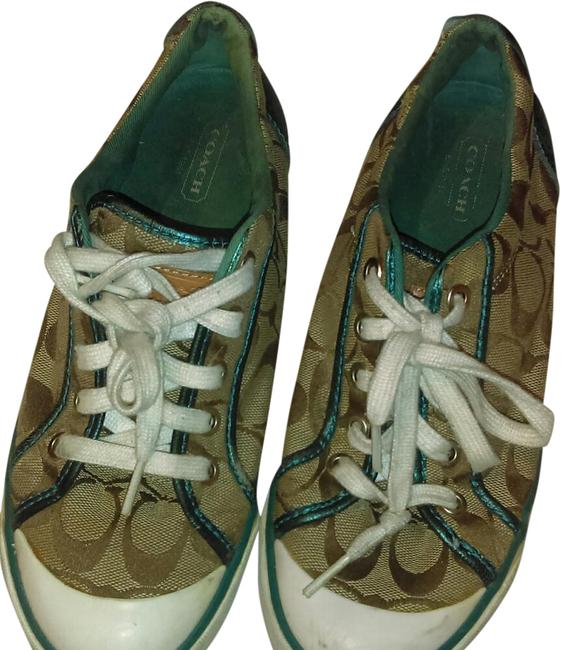 Coach Brown/ Turquoise Barrett Sneakers Size US 7.5 Regular (M, B) Coach Brown/ Turquoise Barrett Sneakers Size US 7.5 Regular (M, B) Image 1