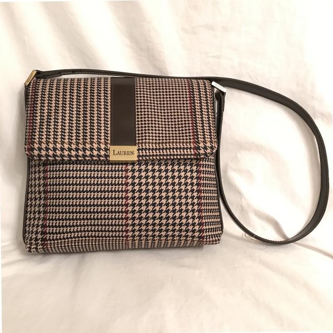 Item - New Classic Houndstooth Patent Leather Brown White Wool Shoulder Bag