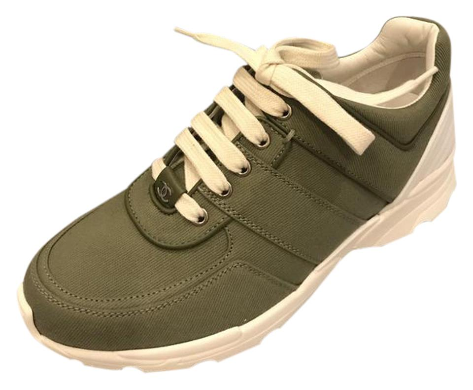 95206b76251 Chanel Cc Sneakers Kicks Canvas Fabric Khaki (Olive Green) Athletic Image 0  ...