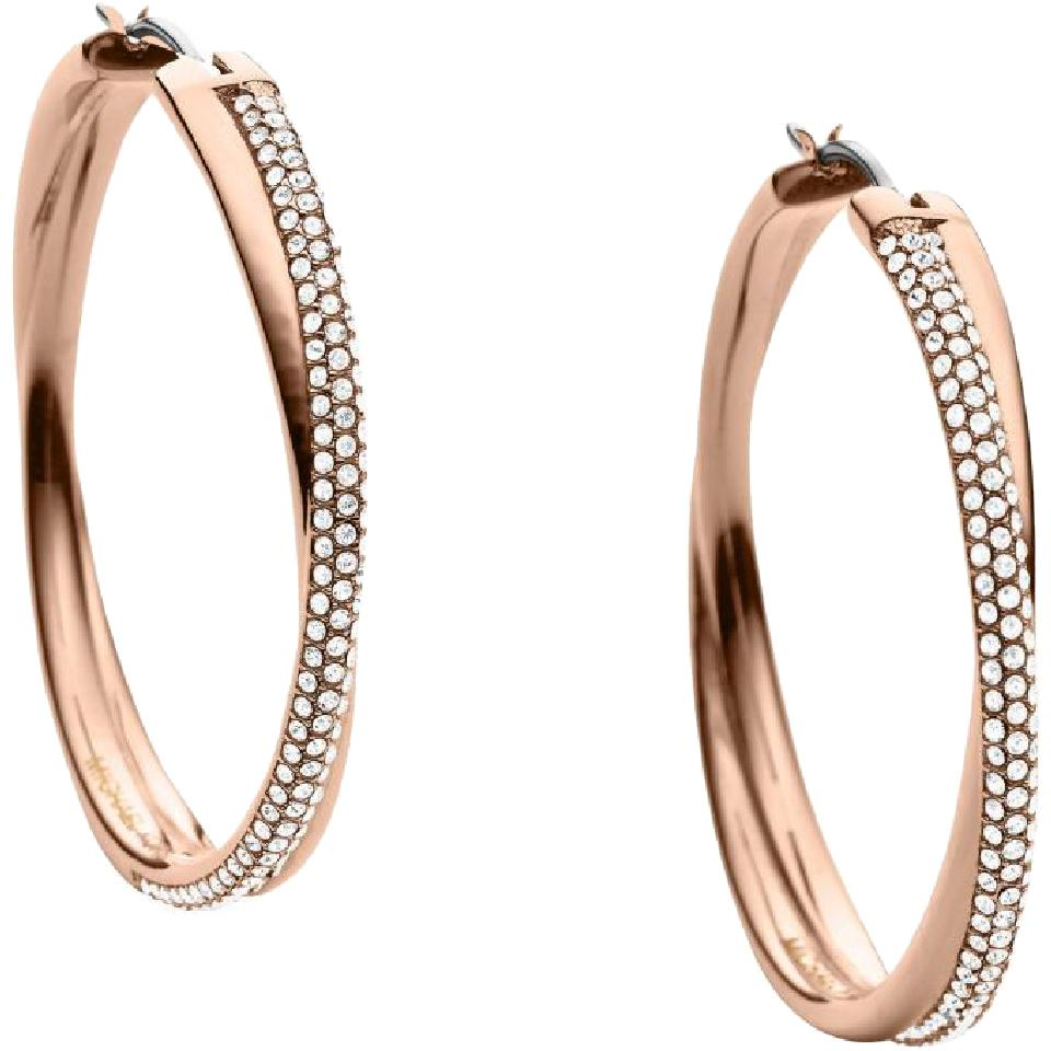 f2d44225bb35 Michael Kors Rose Gold-tone Brilliance Statement Pave Crossover Gold  Earrings