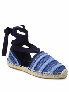 Jimmy Choo Dolphin Lace Embroidered Espadrille Denim Blue Flats