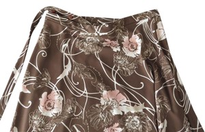 Amanda Smith Wrap Casual Long Skirt brown floral