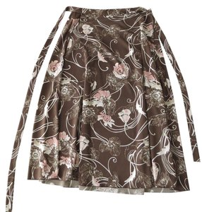 Amanda Smith Vintage Wrap Easy Skirt Multi - brown, pink, & white floral print