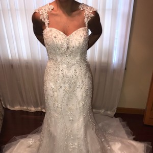 Kenneth Winston Ivory Satin with Beaded Organza Overlay Mermaid Gown Formal Wedding Dress Size 6 (S)