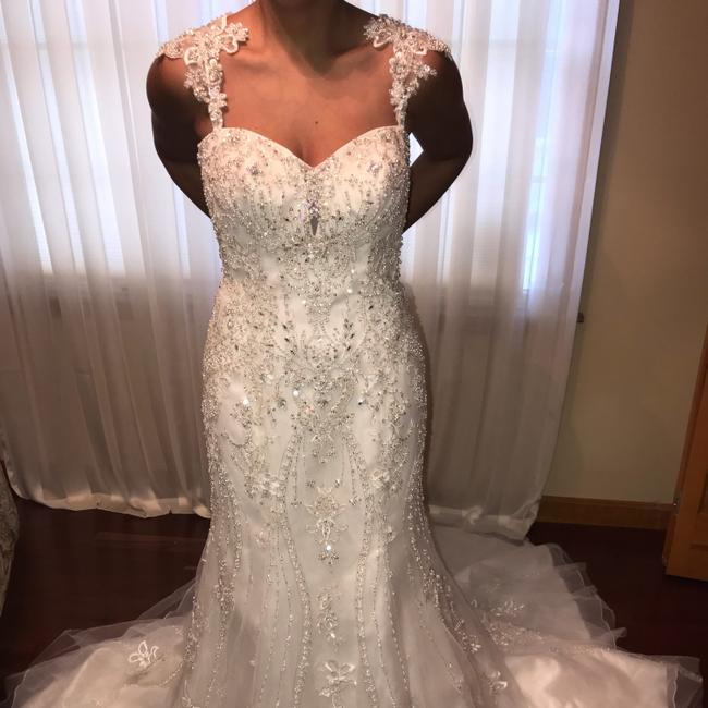 Kenneth Winston Ivory Satin with Beaded Organza Overlay Mermaid Gown Formal Wedding Dress Size 6 (S) Kenneth Winston Ivory Satin with Beaded Organza Overlay Mermaid Gown Formal Wedding Dress Size 6 (S) Image 1