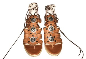Michael Kors Leather Lace Up Brown Wedges