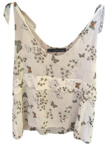 Patterson J. Kincaid Butterfly Print. Tie Shoulders Tiers Top Multi