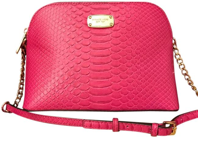 Michael Kors Cindy Large Dome Embossed Pink Leather Cross Body Bag Michael Kors Cindy Large Dome Embossed Pink Leather Cross Body Bag Image 1