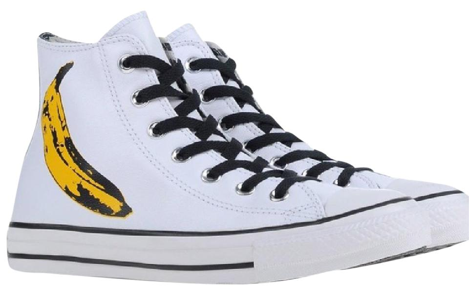 5fa4504c15ef Converse White   Yellow Limited Edition Chuck Taylor All Star Andy Warhol  Banana Sneakers