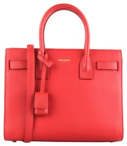 Saint Laurent Tote Leather Satchel in Red