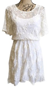 7f390b4babf64a Ella Moss short dress White Lace Mini Embroidered on Tradesy